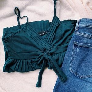 ELEGANT TEAL TANK WITH BOW